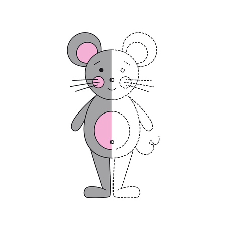Vector illustration of funny mouse for coloring book Standard-Bild - 118965937