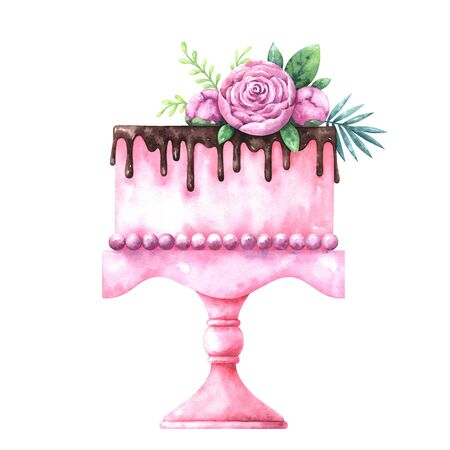 watercolor illustration of cake decorated with plants