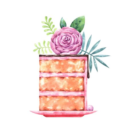 watercolor illustration of a piece of cake