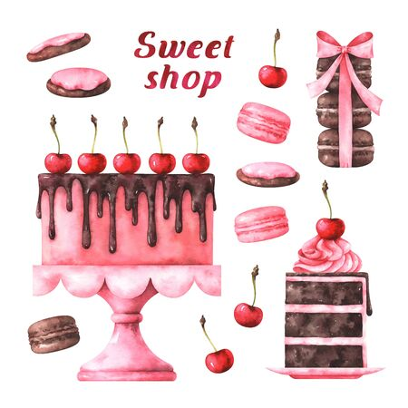 watercolor illustration of chocolate cake, macaroons and cookies Stock Photo