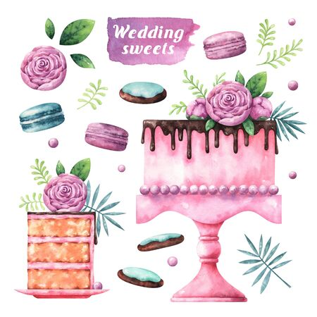 Collection of watercolor wedding sweets