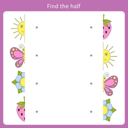 Find the half for the object. Simple game for kids Stock Illustratie