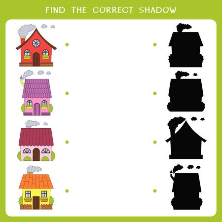 Find the correct shadow for houses. Vector worksheet of simple educational game for kids