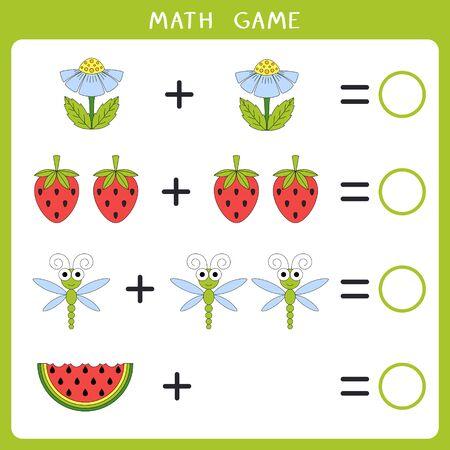 Edukacyjna gra matematyczna dla dzieci. Dodaj i zapisz wynik. Ilustracja wektorowa