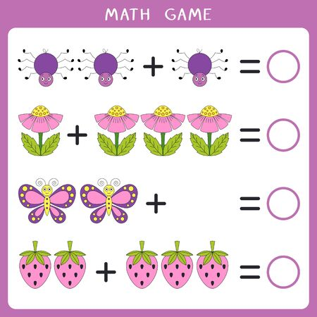 Educational math game for kids. Add and write the result. Vector illustration