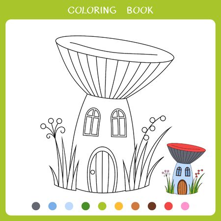 Vector illustration of the fairytale mushroom house for coloring book