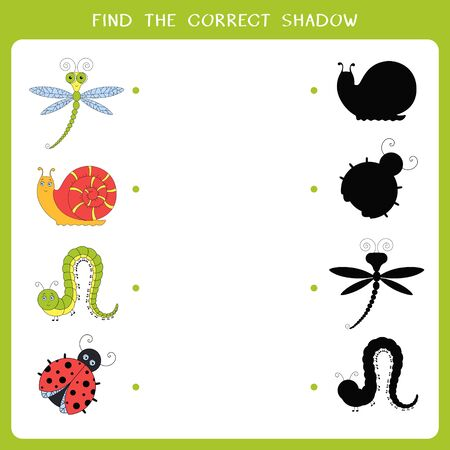 Find the correct shadow for insects. Vector worksheet of simple educational game for kids