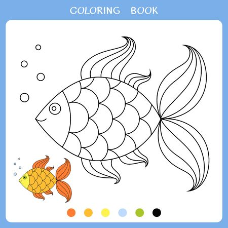 Vector illustration of golden fish for coloring book