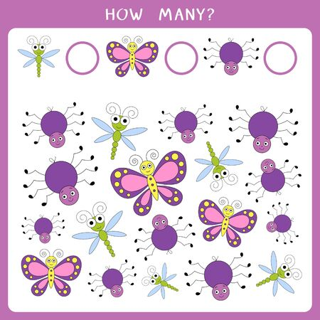 Educational math game for kids. Count how many insects and write the result Stock Illustratie