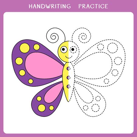 Handwriting practice sheet. Vector illustration of butterfly for coloring book Stock Illustratie