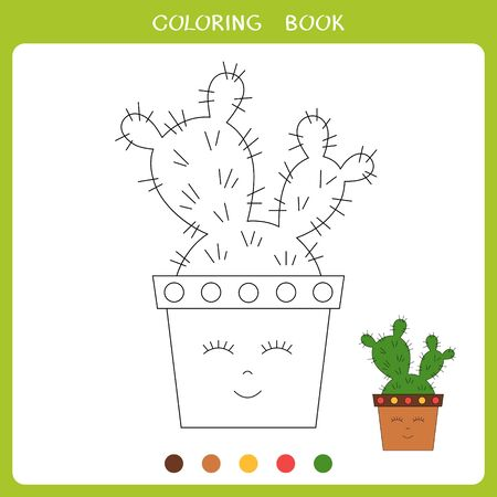 Vector illustration of cactus in cute pot for coloring book