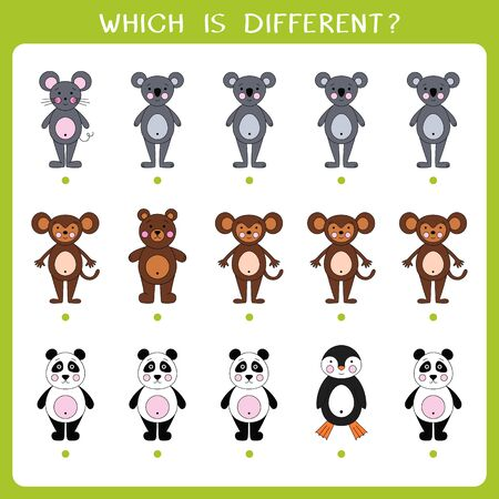Simple logic game for kids. Find the odd one in the group
