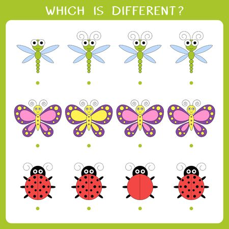 Simple logic game for kids. Find the odd one in the group. Vector illustration