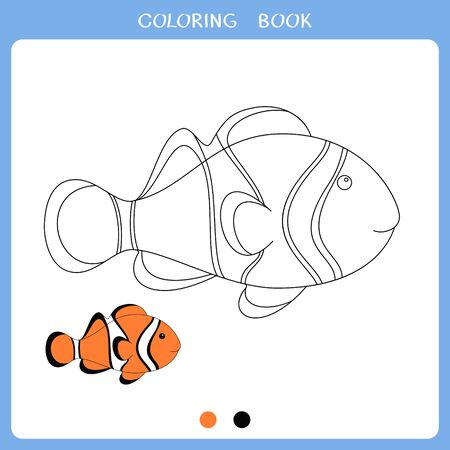 Simple educational game for kids. Vector illustration of clown fish for coloring book
