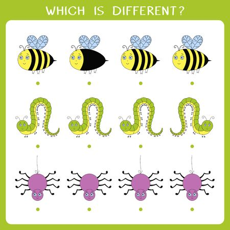 Simple logic game for kids. Find the odd one in the group. Vector illustration 矢量图像