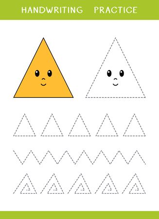 Handwriting practice sheet with triangle shapes. Simple educational game for kids. Vector illustration