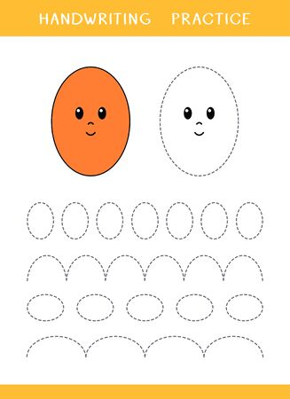 Handwriting practice sheet with ellipse shapes. Simple educational game for kids. Vector illustration