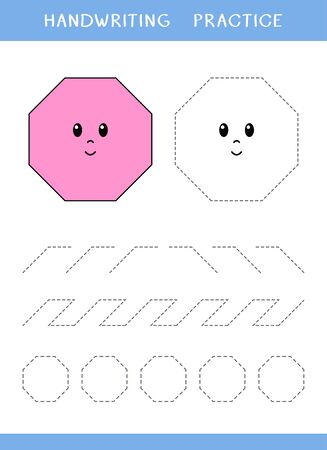 Handwriting practice sheet with geometric shapes. Simple educational game for kids. Vector illustration