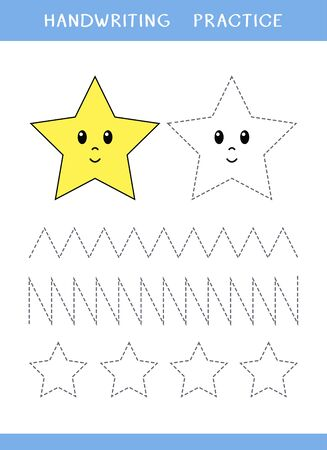 Handwriting practice sheet with stars and zigzag. Simple educational game for kids. Vector illustration