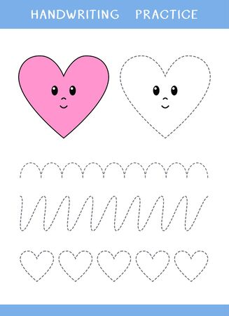 Handwriting practice sheet with hearts and curved lines. Simple educational game for kids. Vector illustration