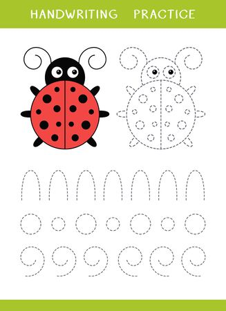 Handwriting practice sheet with ladybird and circle shapes. Simple educational game for kids. Vector illustration