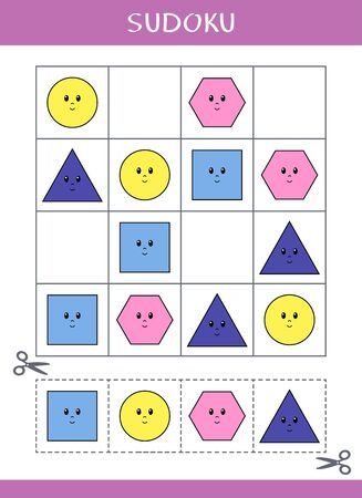 Sudoku for kids. Simple logic game. Cut and glue. Vector illustration 向量圖像