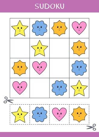 Sudoku for kids. Simple logic game. Cut and glue. Vector illustration