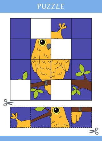 Puzzle for kids. Simple educational game. Cut and glue. Vector illustration