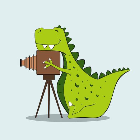 Vector illustration of funny dinosaur sitting near old photo camera Illusztráció