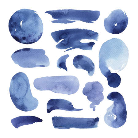 Hand painted blue watercolor objects isolated on white background. Creative collection of abstract stain, stroke, line and circle for your design