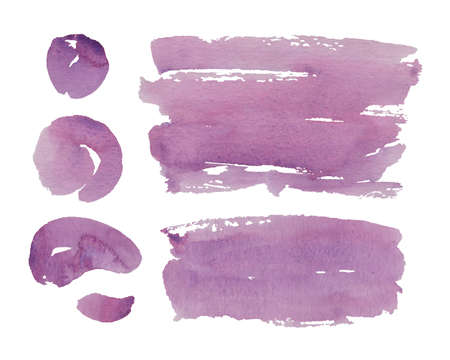 Hand painted purple watercolor objects isolated on white background. Creative collection of abstract stain, stroke and circle for your design