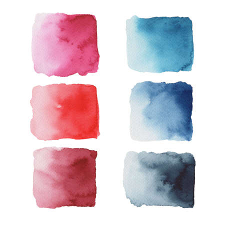 Hand painted colorful watercolor objects isolated on white background. Creative collection of abstract stains for your design Stock fotó