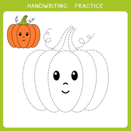 Handwriting practice sheet. Simple educational game for kids. Vector illustration of cute pumpkin for coloring book Illusztráció
