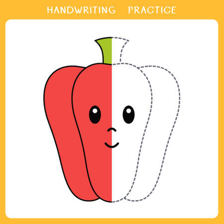 Handwriting practice sheet. Simple educational game for kids. Vector illustration of cute pepper for coloring book Illusztráció