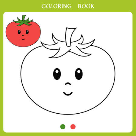 Simple educational game for kids. Vector illustration of cute tomato for coloring book