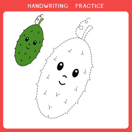 Handwriting practice sheet. Simple educational game for kids. Vector illustration of cute cucumber for coloring book