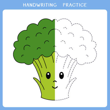 Handwriting practice sheet. Simple educational game for kids. Vector illustration of cute broccoli for coloring book