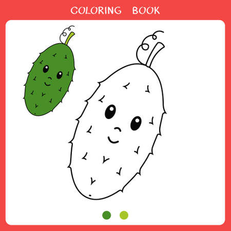 Simple educational game for kids. Vector illustration of cute cucumber for coloring book