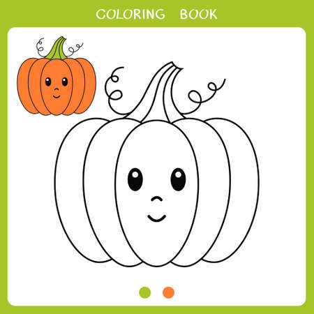 Simple educational game for kids. Vector illustration of cute pumpkin for coloring book