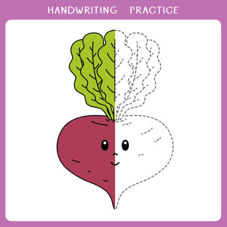 Handwriting practice sheet. Simple educational game for kids. Vector illustration of cute beet for coloring book