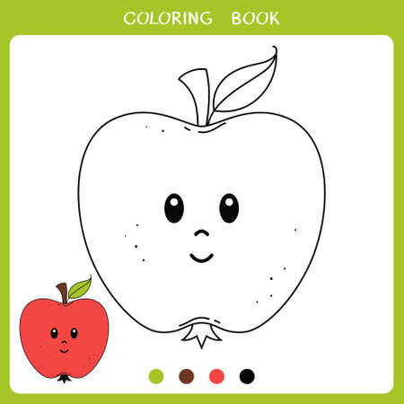 Simple educational game for kids. Vector illustration of cute apple for coloring book