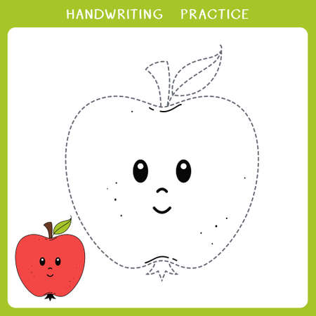 Handwriting practice sheet. Simple educational game for kids. Vector illustration of cute apple for coloring book