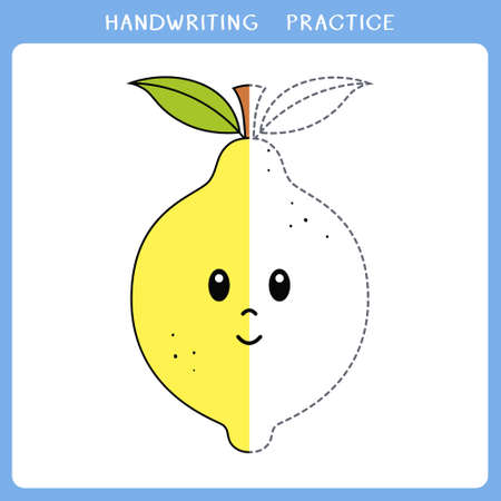 Handwriting practice sheet. Simple educational game for kids. Vector illustration of cute lemon for coloring book Illusztráció