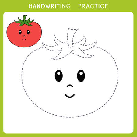 Handwriting practice sheet. Simple educational game for kids. Vector illustration of cute tomato for coloring book
