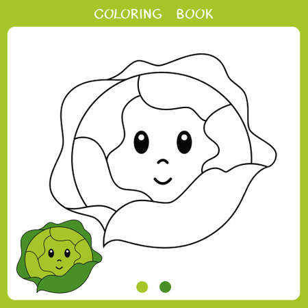 Simple educational game for kids. Vector illustration of cute cabbage for coloring book Illusztráció