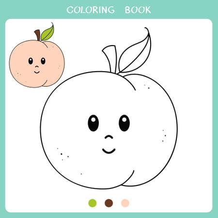 Simple educational game for kids. Vector illustration of cute peach for coloring book Illusztráció