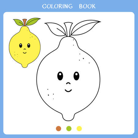 Simple educational game for kids. Vector illustration of cute lemon for coloring book