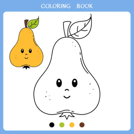 Simple educational game for kids. Vector illustration of cute pear for coloring book Illusztráció
