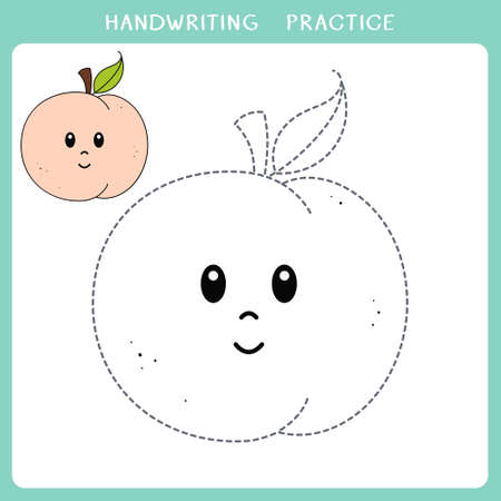 Handwriting practice sheet. Simple educational game for kids. Vector illustration of cute peach for coloring book
