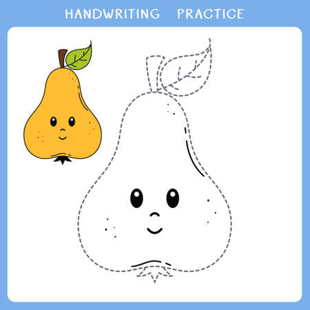 Handwriting practice sheet. Simple educational game for kids. Vector illustration of cute pear for coloring book Vettoriali